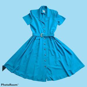 Vintage 80s Leslie Fay Teal Midi Shirt Dress 10P